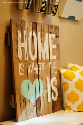 Stenciled wall art using the Home Is Where The Heart Is Stencil. http://www.cuttingedgestencils.com/home-is-wall-quote-stencil.html