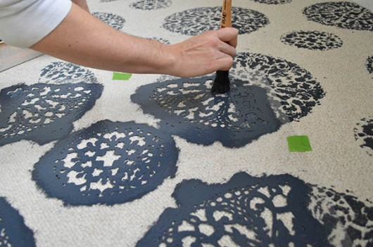 Painting the Antico Allover stencil on a carpet. http://www.cuttingedgestencils.com/antico-allover-wall-pattern.html