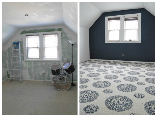 Before and After of a DIY painted carpet using the Antico Allover stencil pattern. http://www.cuttingedgestencils.com/antico-allover-wall-pattern.html