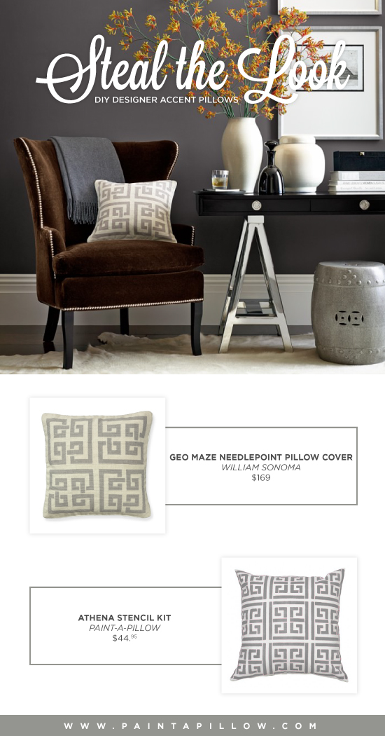 Recreate the look of this Williams Sonoma accent pillow using the Athena Paint-A-Pillow kit. http://paintapillow.com/index.php/athena-paint-a-pillow-kit.html