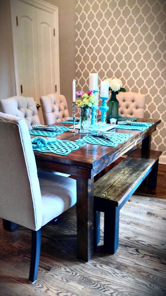 A DIY stenciled accent wall in a dining room using the Casablanca Allover pattern. http://www.cuttingedgestencils.com/allover-stencils.html