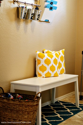 A family command center with Cascade stenciled accent pillows from Paint-A-Pillow. http://paintapillow.com/index.php/cascade-paint-a-pillow-kit.html