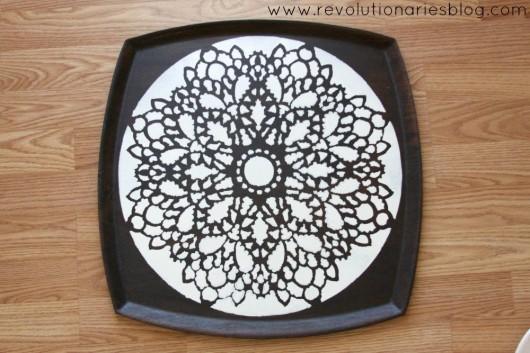 A DIY stenciled tray using the Charlotte Stencil pattenr. http://www.cuttingedgestencils.com/charlotte-allover-stencil-pattern.html