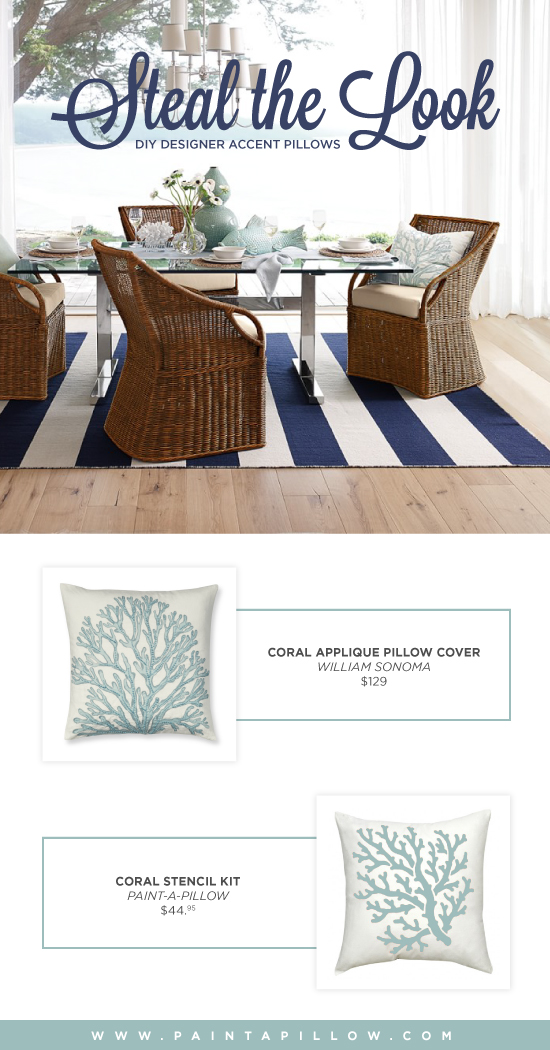 Recreate the look of this Williams Sonoma accent pillow using the Coral Paint-A-Pillow kit. http://paintapillow.com/index.php/coral-paint-a-pillow-kit.html