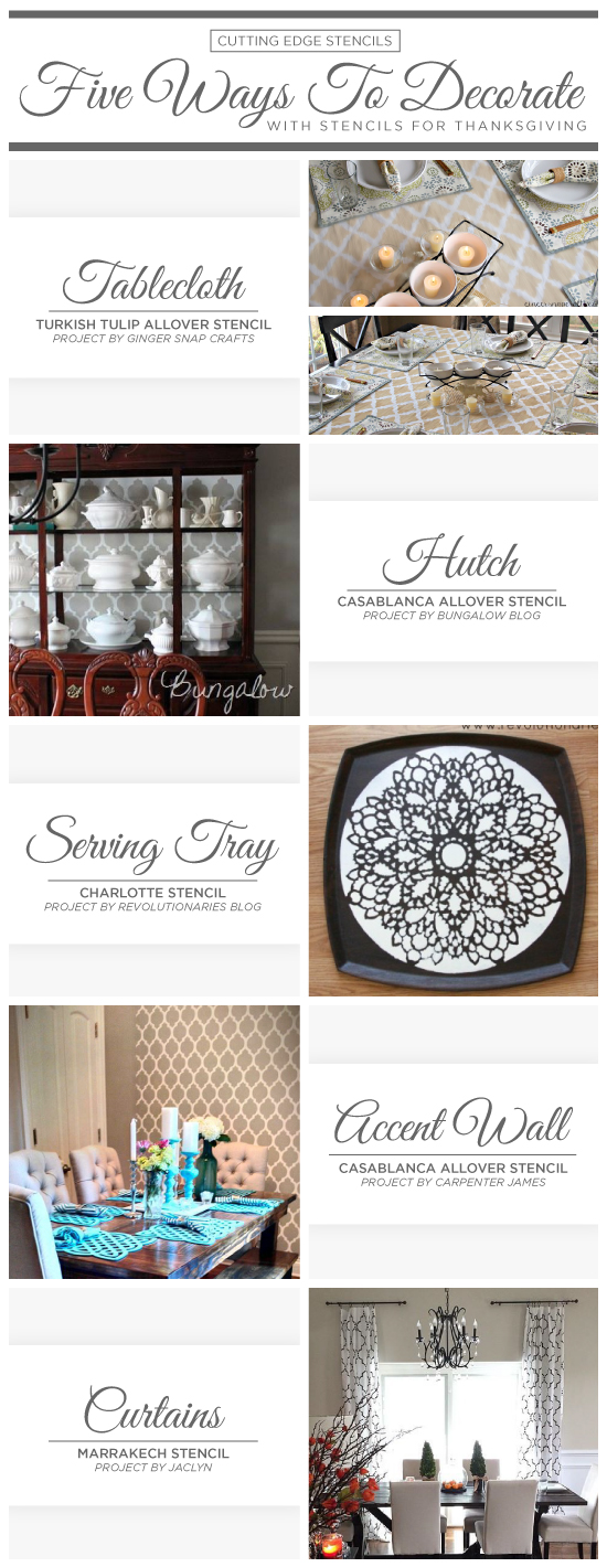 Cutting Edge Stencils suggests easy DIY stencil ideas to decorate your dining room for Thanksgiving. http://www.cuttingedgestencils.com/wall-stencils-stencil-designs.html