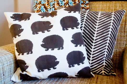 DIY stenciled accent pillows using the Hedgehog and Herringbone Stitch Paint-A-Pillow kits. http://paintapillow.com/index.php/hedgehogs-paint-a-pillow-kit.html