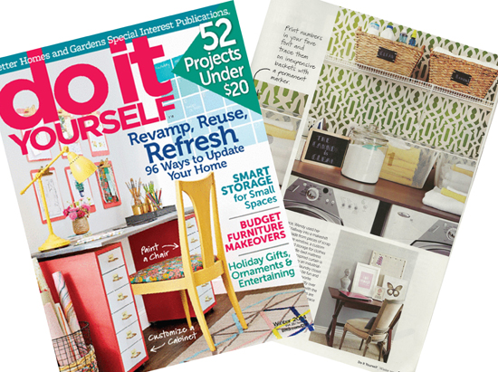 DIY Magazine Winter Issue 2014 features the Trellis Allover stencil in a laundry room.