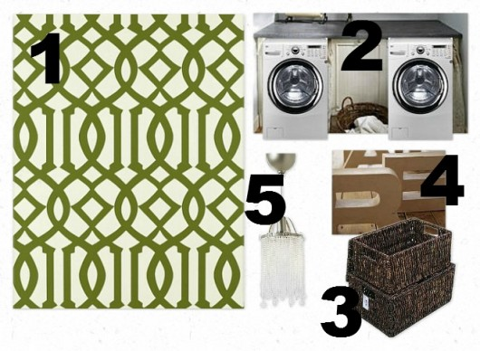 Stenciled laundry room inspiration board featuring the Trellis Allover stencil. http://www.cuttingedgestencils.com/allover-stencil.html