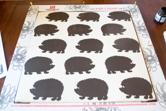 Stenciled DIY accent pillows using the Hedgehog Paint-A-Pillow kit. http://paintapillow.com/index.php/hedgehogs-paint-a-pillow-kit.html