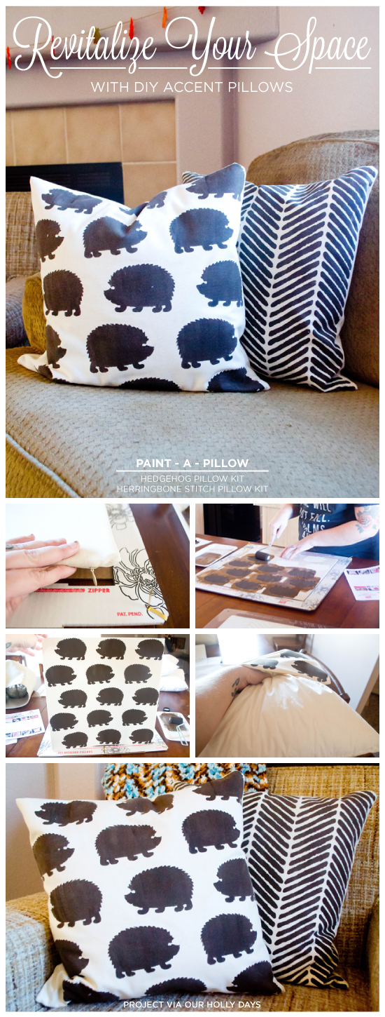 Paint-A-Pillow shares DIY stenciled accent pillows using the Hedgehog and Herringbone Stitch Paint-A-Pillow kits. http://paintapillow.com/index.php/hedgehogs-paint-a-pillow-kit.html