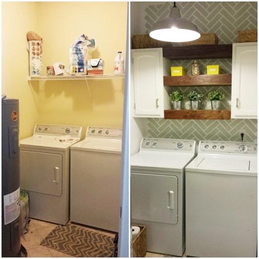 Before and After of a Herringbone Brick stenciled laundry room. http://www.cuttingedgestencils.com/herringbone-brick-pattern-stencil-wall-decor.html