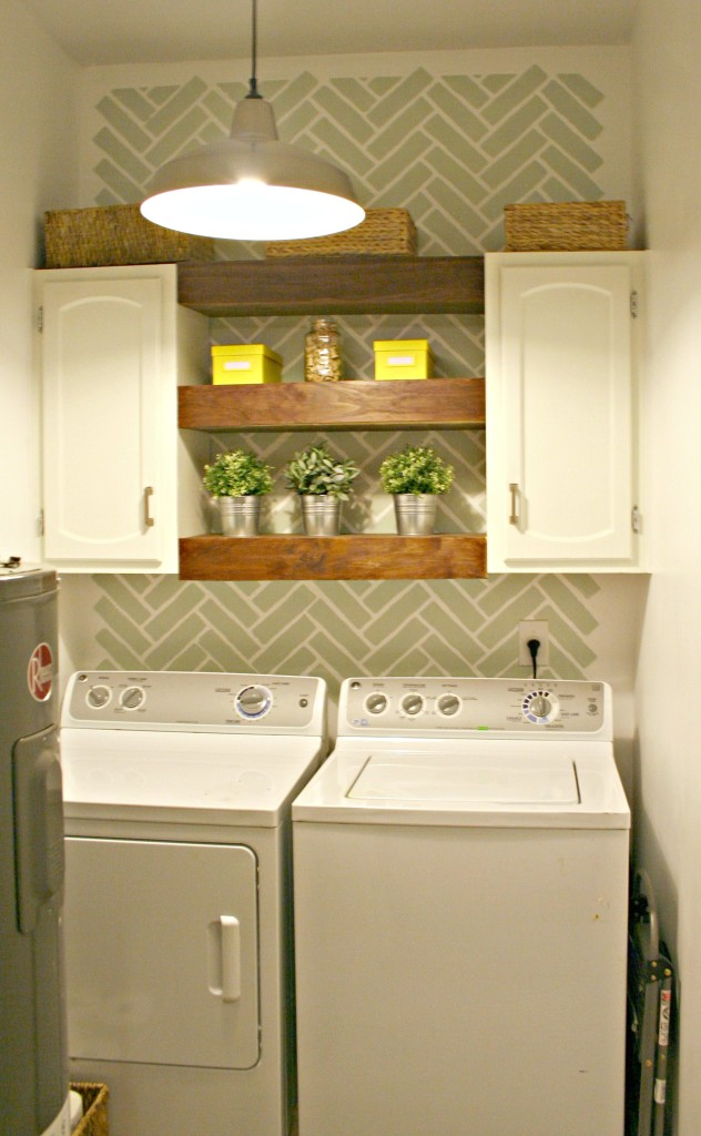 A DIY stenciled laundry room makeover using the Herringbone Brick stencil pattern. http://www.cuttingedgestencils.com/herringbone-brick-pattern-stencil-wall-decor.html
