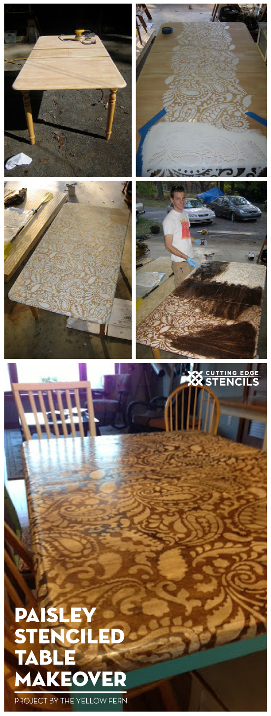 A DIY stenciled table idea using the Paisley Allover Stencil pattern. http://www.cuttingedgestencils.com/paisley-allover-stencil.html