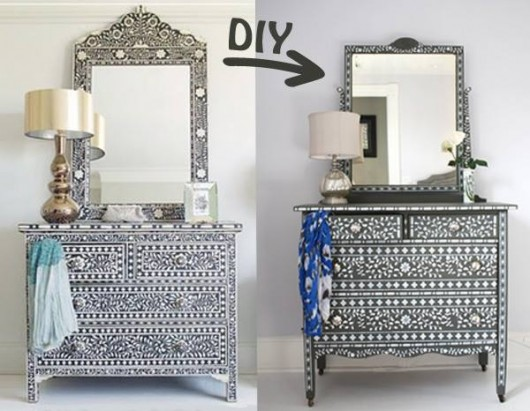 Use the Indian Inlay Stencil kit to steal the look of designer bone inlay furniture. http://www.cuttingedgestencils.com/indian-inlay-stencil-furniture.html