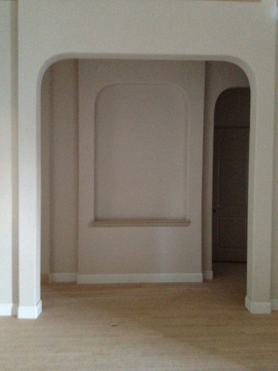 A before shot of a dining room makeover.