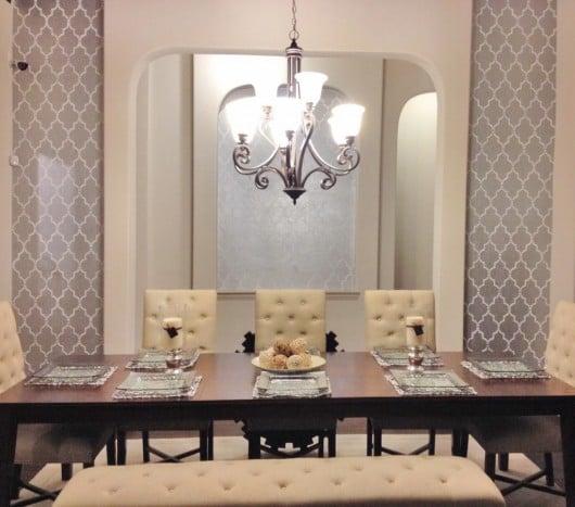 Cutting Edge Stencils shares a DIY dining room makeover using the Marrakech Trellis Stencil. http://www.cuttingedgestencils.com/moroccan-stencil-marrakech.html