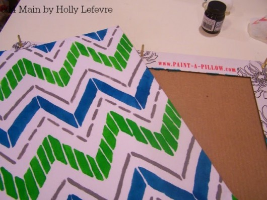 Stenciling the Tribe pattern using a Paint-A-Pillow kit. http://paintapillow.com/index.php/tribe-paint-a-pillow-kit.html