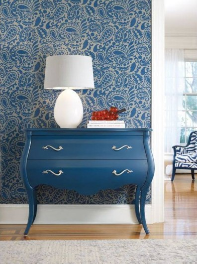 A DIY stenciled accent wall featuring the Paisley Allover stencil in Indigo. http://www.cuttingedgestencils.com/paisley-allover-stencil.html