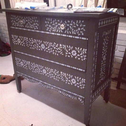Stenciling a dresser with the Indian Inlay Stencil kit. http://www.cuttingedgestencils.com/indian-inlay-stencil-furniture.html