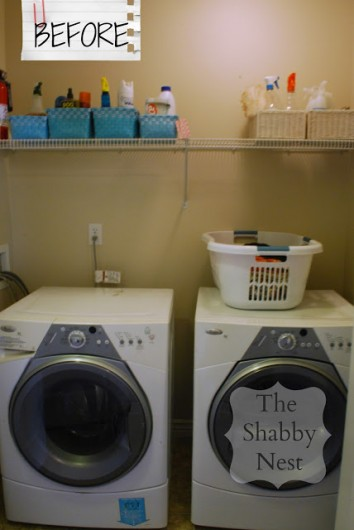 A laundry room before it was stenciled with the Trellis Allover pattern.