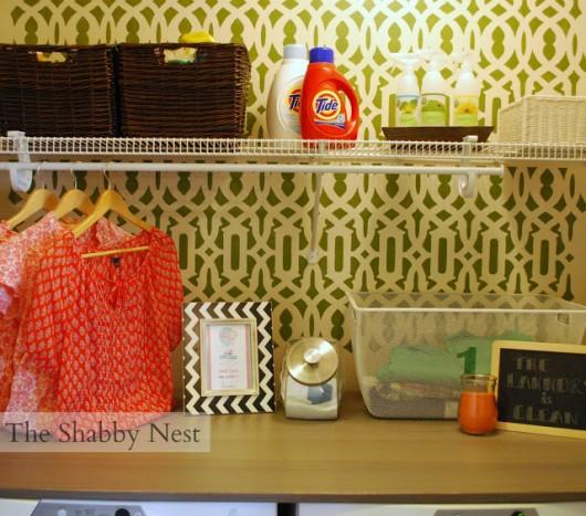 A DIY stenciled laundry room featuring the Trellis Allover Stencil. http://www.cuttingedgestencils.com/allover-stencil.html