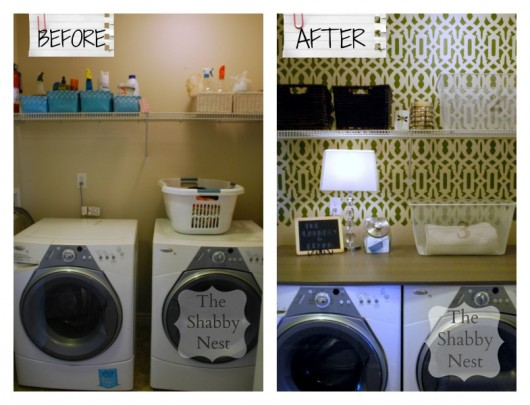 A before and after of a DIY stenciled laundry room featuring the Trellis Allover Stencil. http://www.cuttingedgestencils.com/allover-stencil.html