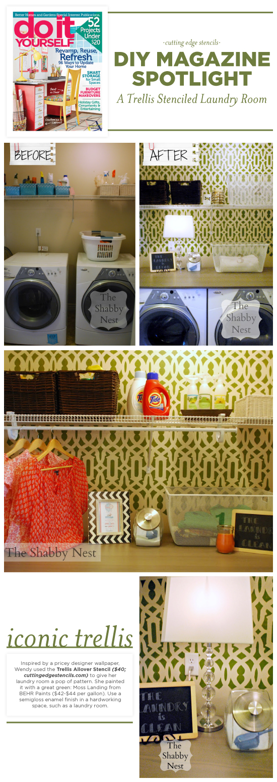 Cutting Edge Stencils shares a stenciled laundry room that was featured in DIY Magazine painted with the Trellis Allover Stencil.  http://www.cuttingedgestencils.com/allover-stencil.html