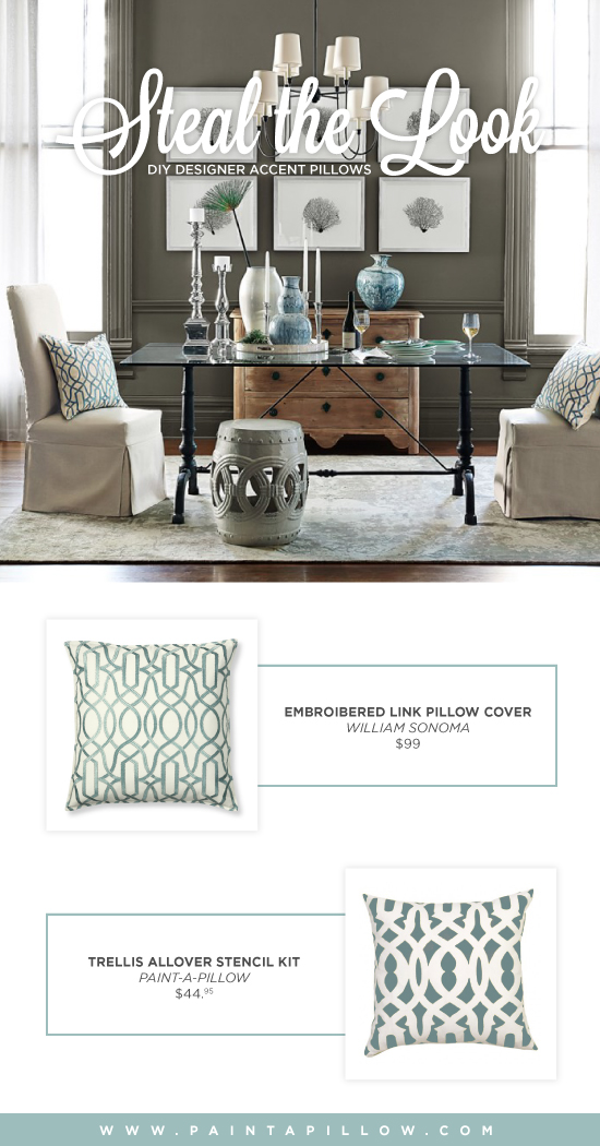 Recreate the look of this Williams Sonoma accent pillow using the Trellis Paint-A-Pillow kit.