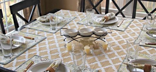 A DIY stenciled tablecloth using the Turkish Tulip stencil pattern. http://www.cuttingedgestencils.com/moroccan-stencil-tulip.html
