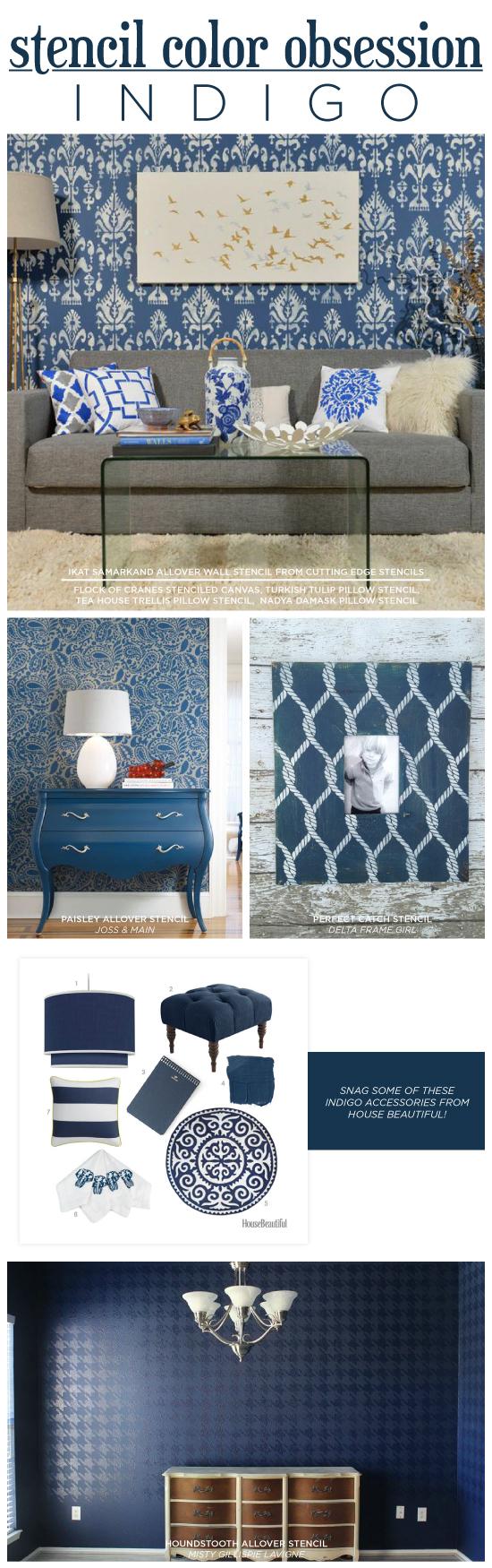 Cutting Edge Stencils shares DIY stenciled accent walls and home decor ideas in indigo blue. http://www.cuttingedgestencils.com/wall-stencils-stencil-designs.html