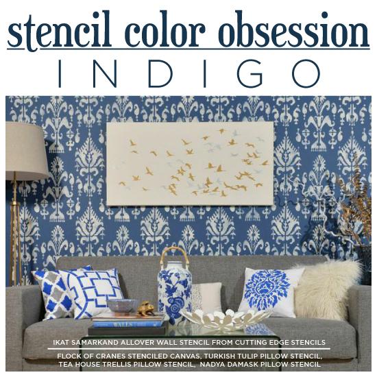 Cutting Edge Stencils shares DIY stenciled home decor ideas in indigo blue. http://www.cuttingedgestencils.com/wall-stencils-stencil-designs.html