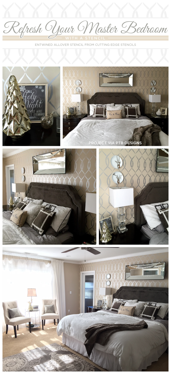 Cutting Edge Stencils shares a DIY stenciled bedroom using the Entwined Allover Stencil on an accent wall in metallic silver. http://www.cuttingedgestencils.com/stencil-pattern-2.html