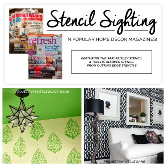 Cutting Edge Stencils shares DIY stenciled room ideas featured in popular home decor magazines. http://www.cuttingedgestencils.com/sari-paisley-allover-stencil.html