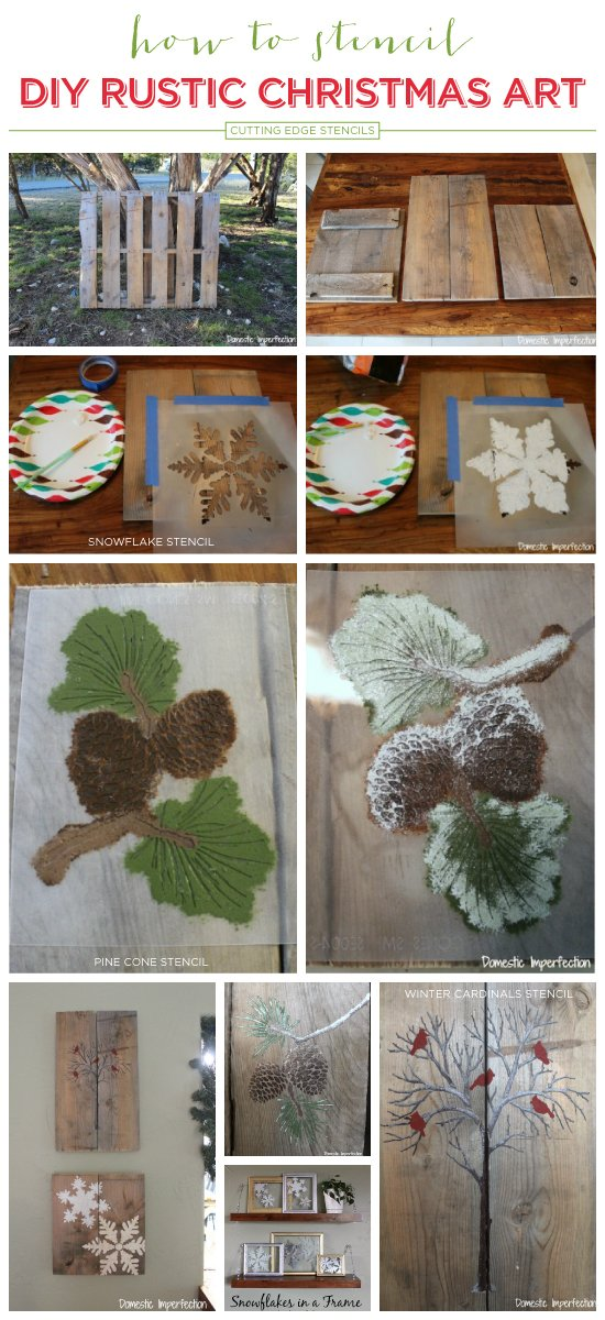 Cutting Edge Stencils shares easy DIY stenciled pallet art with the Holiday Stencils and acrylic craft paint.. http://www.cuttingedgestencils.com/christmas-stencils-valentine-halloween.html
