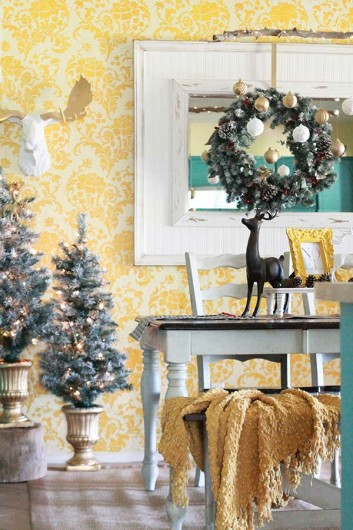 Christmas Decorating With A Stenciled Backdrop