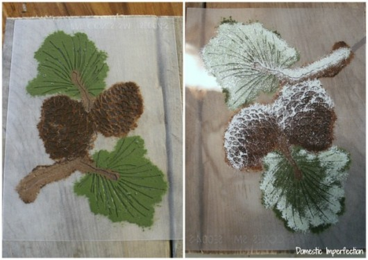 Stenciling DIY pallet art with the Pine Cone Stencil and acrylic craft paint.. http://www.cuttingedgestencils.com/pine-cones-stencil.html