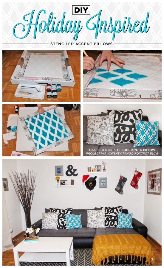 DIY winter accent pillows using the Oasis Paint-A-Pillow kit.