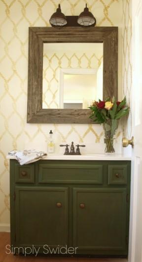 A DIY stenciled bathroom makeover using the Perfect Catch Stencil. http://www.cuttingedgestencils.com/perfect-catch-stencil-beach-decor.html