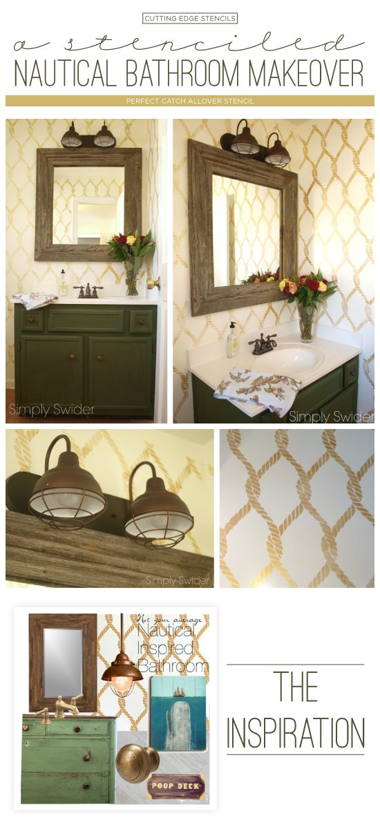 Cutting Edge Stencils shares a DIY stenciled bathroom makeover using the Perfect Catch Stencil. http://www.cuttingedgestencils.com/perfect-catch-stencil-beach-decor.html