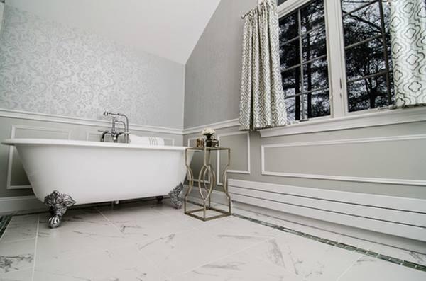An all white Anna Damask stenciled bathroom. http://www.cuttingedgestencils.com/damask-stencil.html