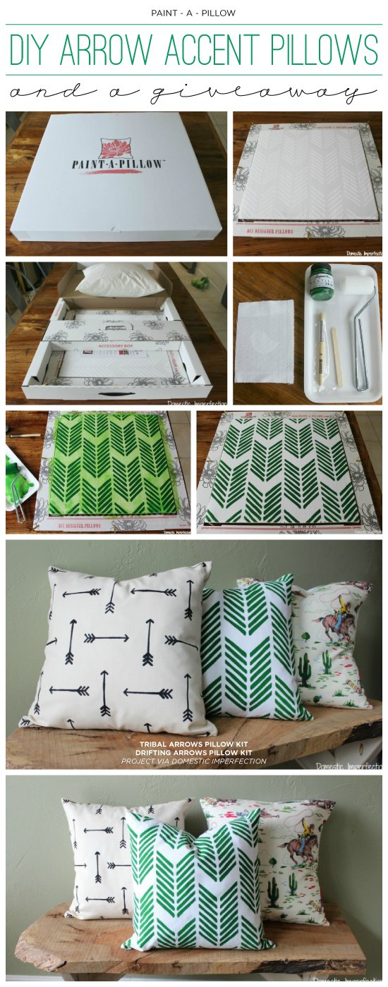 DIY stenciled accent pillows using the Drifting Arrows and Tribal Arrows Paint-A-Pillow kits. http://paintapillow.com/index.php/catalogsearch/result/?q=arrow