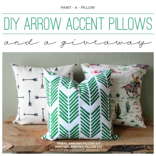 Cutting Edge Stencils shares IY stenciled accent pillows using the Drifting Arrows and Tribal Arrows Paint-A-Pillow kits. http://paintapillow.com/index.php/catalogsearch/result/?q=arrow