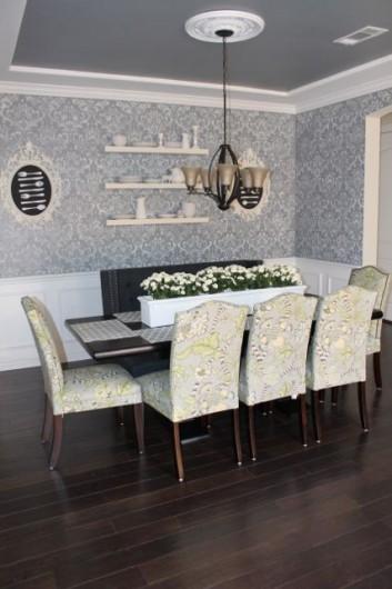 A DIY Anna Damask stenciled dining room. http://www.cuttingedgestencils.com/damask-stencil.html