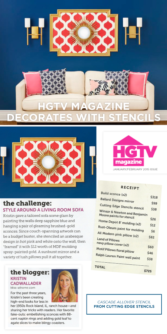 Cutting Edge Stencils shares a Cascade stenciled wall accent featured in HGTV Magazine. http://www.cuttingedgestencils.com/cascade-allover-stencil-pattern.html