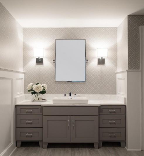 A DIY stenciled bathroom using the Fuji Allover stencil pattern. http://www.cuttingedgestencils.com/stencil-wall-stencils-fuji.html