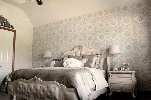 A Diy Stenciled Bedroom Using The Gabrielle Damask Stencil Pattern Http Www