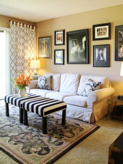 A budget friendly family room makeover with DIY Harlequin Trellis stenciled curtains.  http://www.cuttingedgestencils.com/trellis-stencil-harlequin.html