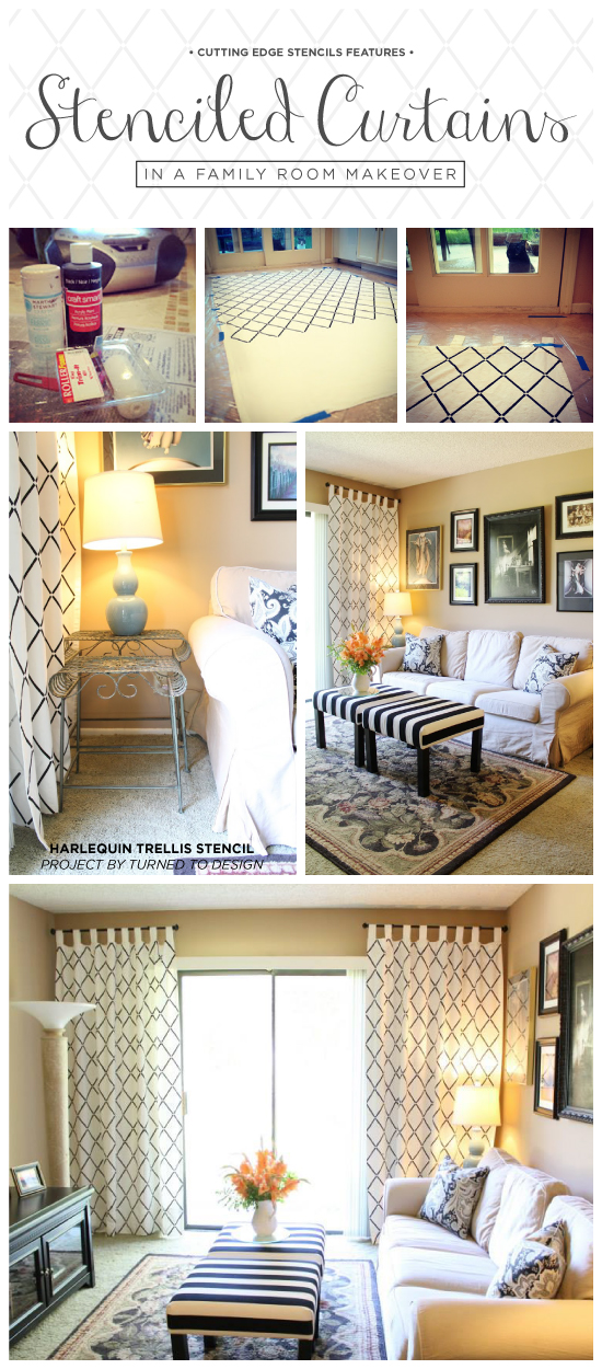 Cutting Edge Stencils shares a budget friendly family room makeover with DIY Harlequin Trellis stenciled curtains. http://www.cuttingedgestencils.com/trellis-stencil-harlequin.html