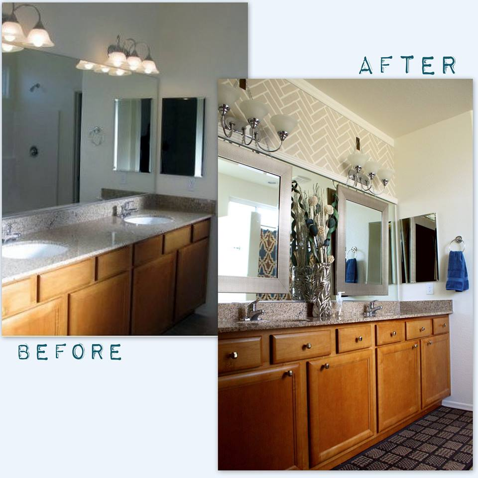 Before/After: A DIY stenciled bathroom makeover using the Herringbone Brick stencil. http://www.cuttingedgestencils.com/herringbone-brick-pattern-stencil-wall-decor.html