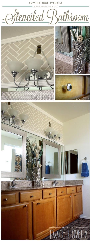 A DIY stenciled bathroom makeover using the Herringbone Brick stencil. http://www.cuttingedgestencils.com/herringbone-brick-pattern-stencil-wall-decor.html
